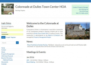 Colonnade at Dulles HOA website