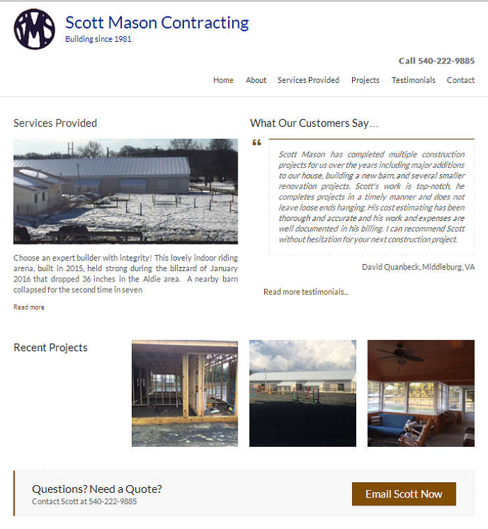 Scott Mason Contracting website